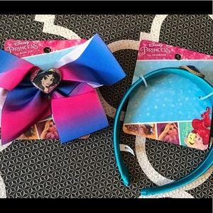 NWT Girls Disney Princess Jasmine Hair Bow & Band